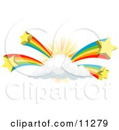 Rainbows Bursting From A Sun Behind A Cloud Clipart Illustration by AtStockIllustration