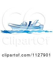 Clipart Of Silhouetted Women Fishing From A Boat 3 Royalty Free Vector Illustration