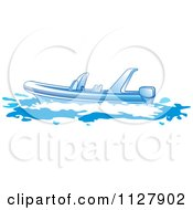 Clipart Of A Boat In Blue Tones 2 Royalty Free Vector Illustration by Lal Perera