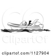 Clipart Of Silhouetted Black And White Women Fishing From A Boat Royalty Free Vector Illustration