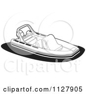 Clipart Of A Black And White Recreational Boat Royalty Free Vector Illustration by Lal Perera