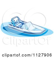 Clipart Of A Boat In Blue Tones 1 Royalty Free Vector Illustration by Lal Perera