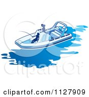 Clipart Of Silhouetted Women Fishing From A Boat 1 Royalty Free Vector Illustration