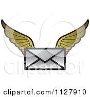 Clipart Of A Letter Envelope With Gold Wings Royalty Free Vector Illustration by Lal Perera