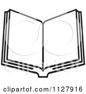 Clipart Of A Black And White Open Book Royalty Free Vector Illustration