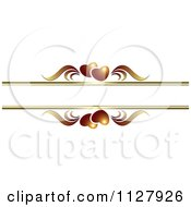 Clipart Of Golden Brown Hearts And Waves With Copyspace Royalty Free Vector Illustration
