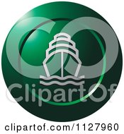 Clipart Of A Green Ship Icon Royalty Free Vector Illustration by Lal Perera