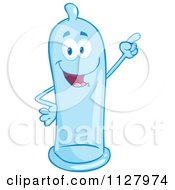 Cartoon Of A Blue Latex Condom Mascot Pointing Royalty Free Vector Clipart
