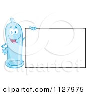 Cartoon Of A Blue Latex Condom Mascot Holding A Sign 1 Royalty Free Vector Clipart