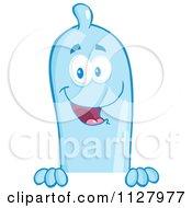 Cartoon Of A Blue Latex Condom Mascot Over A Sign Royalty Free Vector Clipart