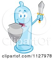 Cartoon Of A Blue Latex Condom Mascot Protecting With A Shield And Sword Royalty Free Vector Clipart