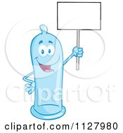 Cartoon Of A Blue Latex Condom Mascot Holding A Sign 2 Royalty Free Vector Clipart