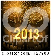 Clipart Of Golden Fireworks Over A City With Happy New Year 2013 Text Royalty Free Vector Illustration by dero