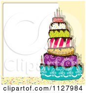 Clipart Of A Funky Colorful Birthday Cake And Copyspace Royalty Free Vector Illustration