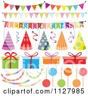 Clipart Of Colorful Birthday Party Hats Decorations And Gifts Royalty Free Vector Illustration by dero