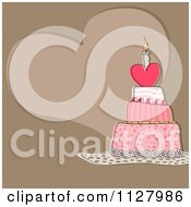 Clipart Of A Heart Birthday Cake And Copyspace On Brown Royalty Free Vector Illustration by dero