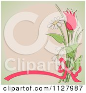 Clipart Of A Ribbon And Flower Background With Copyspace Royalty Free Vector Illustration