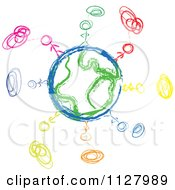 Clipart Of A Sketched Diverse People And Globe Doodle Royalty Free Vector Illustration