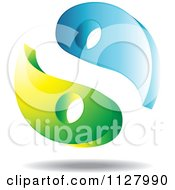 Clipart Of A Blue And Green Tai Chi Yin Yang Royalty Free Vector Illustration