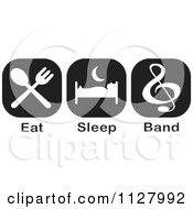 Clipart Of Black And White Eat Sleep Band Icons Royalty Free Vector Illustration