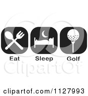 Clipart Of Black And White Eat Sleep Golf Icons Royalty Free Vector Illustration by Johnny Sajem