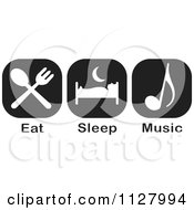 Clipart Of Black And White Eat Sleep Music Icons Royalty Free Vector Illustration