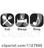 Clipart Of Black And White Eat Sleep Sing Icons Royalty Free Vector Illustration