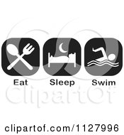 Clipart Of Black And White Eat Sleep Swim Icons Royalty Free Vector Illustration by Johnny Sajem