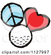 Cartoon Of Peace Love Golf Graphics Royalty Free Vector Clipart by Johnny Sajem