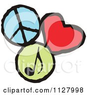 Cartoon Of Peace Love Music Graphics Royalty Free Vector Clipart by Johnny Sajem