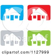 White Houses Over Colorful Rectangles Icons