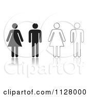 Clipart Of Black And White Solid And Outlined Restroom Symbols Royalty Free Vector Illustration by michaeltravers