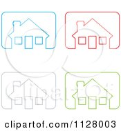 Colorful Outlined House Icons