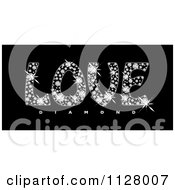 Clipart Of Sparkly Love Diamond Text On Black Royalty Free Vector Illustration by michaeltravers