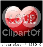 Clipart Of The Word Love In Diamonds On A Red Heart Over Black Royalty Free Vector Illustration