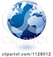Clipart Of A 3d Blue Floating Globe And Shadow Royalty Free Vector Illustration