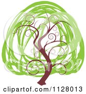 Clipart Of A Swirly Tree With Scribble Green Foliage Royalty Free Vector Illustration