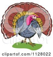 Clipart Of A Thanksgiving Turkey Bird 1 Royalty Free Vector Illustration