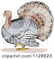 Clipart Of A Thanksgiving Turkey Bird 2 Royalty Free Vector Illustration by patrimonio