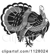 Clipart Of A Black And White Thanksgiving Turkey Bird Royalty Free Vector Illustration by patrimonio #COLLC1128024-0113