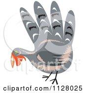 Clipart Of A Hand Thanksgiving Turkey Bird Royalty Free Vector Illustration