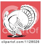 Clipart Of A Black And White Thanksgiving Turkey Bird On Red Royalty Free Vector Illustration