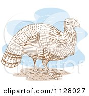 Clipart Of A Thanksgiving Turkey Bird Over Blue Royalty Free Vector Illustration