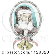 Clipart Of A Retro Engraved Santa Face With Christmas Bells Royalty Free Vector Illustration