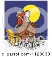 Clipart Of A Retro Santa Climbing A Chimney On Christmas Eve Royalty Free Vector Illustration by patrimonio