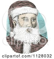 Clipart Of A Retro Engraved Santa Face Royalty Free Vector Illustration