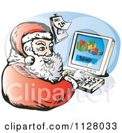 Cartoon Of A Christmas Santa Claus Sending Emails From A Computer Royalty Free Vector Clipart