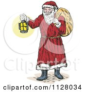 Cartoon Of A Christmas Santa Claus Holding Out A Lantern And Carrying A Bag Royalty Free Vector Clipart