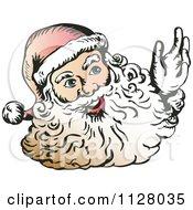 Cartoon Of A Christmas Santa Claus Face With A Beard 2 Royalty Free Vector Clipart