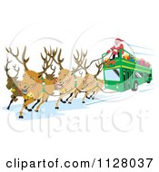 Clipart Of Christmas Reindeer Pulling A Santa Bus Royalty Free Vector Illustration